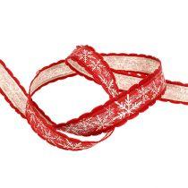 Weihnachtsband Schneeflocke Rot 20mm 15m
