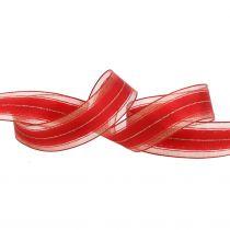 Weihnachtsband mit transparenten Lurexstreifen Rot 25mm 25m