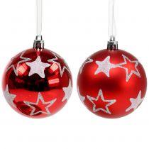 Weihnachtskugeln mit Sternen in Rot 2St Ø8cm
