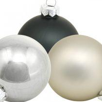 Mini-Weihnachtskugel, Baumschmuck-Mix, Adventsdeko Schwarz/Silbern/Perlmutt H4,5cm Ø4cm Echtglas 24St