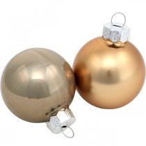 Baumschmuck-Mix, Weihnachtskugeln, Mini-Baumanhänger Golden/Braun/Perlmutt/Beige H4,5cm Ø4cm Echtglas 24St