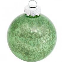 Weihnachtskugel, Baumschmuck, Christbaumkugel Grün marmoriert H4,5cm Ø4cm Echtglas 24St