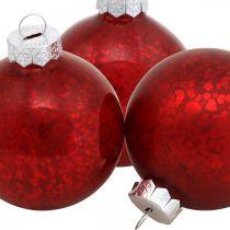Christbaumkugel, Baumanhänger, Weihnachtskugel Rot marmoriert H6,5cm Ø6cm Echtglas 24St