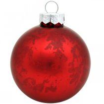 Baumkugel, Christbaumschmuck, Glaskugel Rot marmoriert H4,5cm Ø4cm Echtglas 24St
