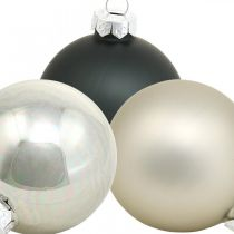 Weihnachtskugel, Christbaumanhänger, Baumschmuck Schwarz/Silbern/Perlmutt H6,5cm Ø6cm Echtglas 24St