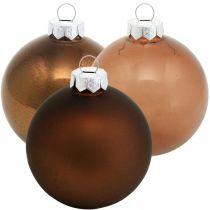 Christbaumkugel, Baumschmuck, Weihnachtskugeln Braun H6,5cm Ø6cm Echtglas 24St
