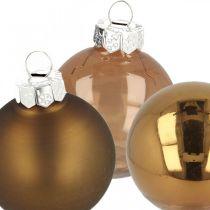 Christbaumschmuck, Baumkugeln, Weihnachtsdeko Braun H8,5cm Ø7,5cm Echtglas 12St