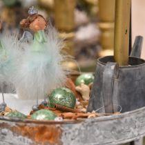 Weihnachtskugel, Christbaumschmuck, Glaskugel Grün marmoriert H6,5cm Ø6cm Echtglas 24St