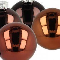 Christbaumkugeln, Baumschmuck, Weihnachtskugel Braun H6,5cm Ø6cm Echtglas 24St
