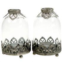 Teelichtglas Windlicht Vintage  Ø8,5cm H14cm 2St