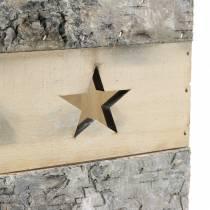 Windlicht Birkenholz mit Henkel 14,5cm x 14,5cm H20cm