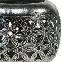 Windlicht Silber mit floralem Muster Ø9,5cm H7cm