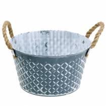 Zinkschale Raute mit Seilgriffen Blau-Grau Ø25cm H14cm