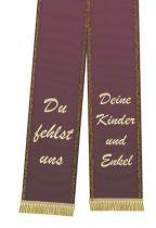 Trauerband bedruckt 125mm x 75cm aubergine