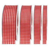 Geschenkband mit Webkante 20m Rot kariert