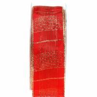 Karoband mit Drahtkante Rot, Gold 40mm L20m