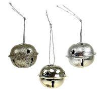 Christbaumschmuck Metallglocke 4cm Silber 12St