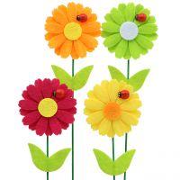 Dekostecker Blume mit Marienkäfer H24cm 12St