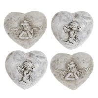 Deko-Herzen mini mit Engel 4cm Grau 8St
