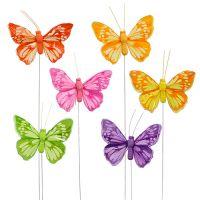 Deko Schmetterling am Draht bunt 6cm 24St