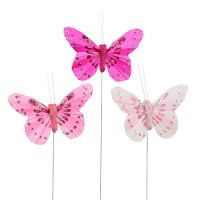 Deko Schmetterling Rosa-Pink sort. 6cm 24St