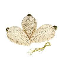 Deko-Zapfen Creme mit Goldglitter 9,5cm 6St