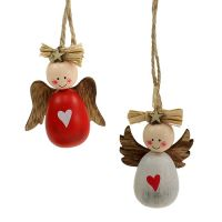 Engel zum Hängen 6cm Rot, Weiß 8St