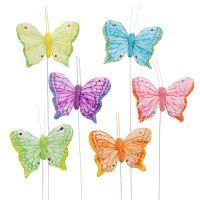 Feder-Schmetterling 6cm farbig sort. 24St
