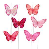 Feder-Schmetterling 7cm Pink-Rot 24St