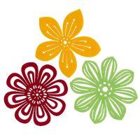 Filzblüten Ø10cm 3 Farben 9St