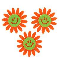 Filzblume mit Klebepunkt Orange 4cm 12St