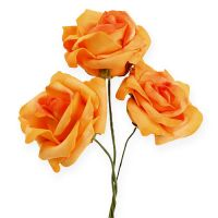 Foam-Rose Ø 8cm dunkel Gelb 18St