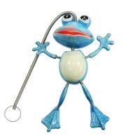 Springfrosch mit Federhänger 13cm Blau