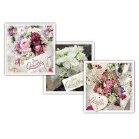 Geburtstagskarten mit Umschlag 12,5 x 12,5cm 3St