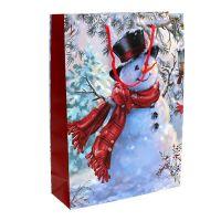 Geschenktasche groß Schneemann 25cm x 34,5cm 1St