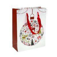 Geschenktüte Weiß mit Muster 18cm x 23cm 1St