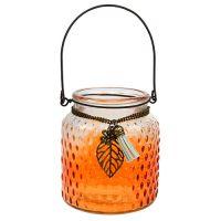 Glaswindlicht Ø10cm H11cm Orange