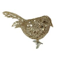 Glitzervogel 8cm gold mit Clip 6St