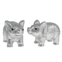 Glücksschwein 13cm Silber mit Glimmer 4St