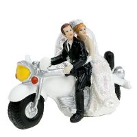 Hochzeitsfigur Brautpaar auf Motorrad 9 cm