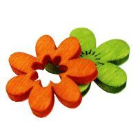 Holzblumen Streu Deko 2cm bunt sort. 144St