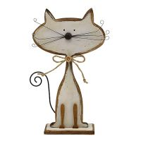 Holzfigur Katze Natur, Weiß 26cm