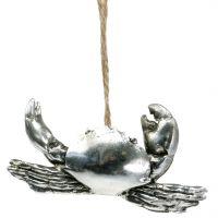 Deko Krebs zum Hängen Antik Silber 9cm