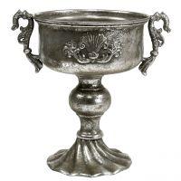 Antik-Pokal aus Metall in Silber Ø18cm H30cm