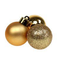 Mini-Weihnachtskugel Plastik Ø3cm Gold 15St