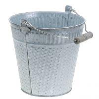 Zinkeimer mit Flechtmuster Grau, Weiß gewaschen Ø18cm H17,5cm