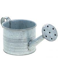Pflanzgefäß Gießkanne verzinkt Grau, Weiß gewaschen H10cm