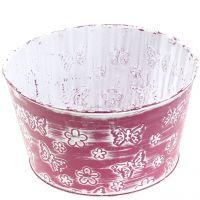 Zinkschale mit Schmetterlingen Violett, Weiß gewaschen Ø18cm H10cm