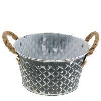 Zinkschale Raute mit Seilgriffen Grau weiß gewaschen Ø22cm H12cm