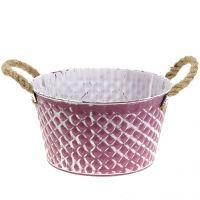 Zinkschale Raute mit Seilgriffen Violett weiß gewaschen Ø24,5 H14cm